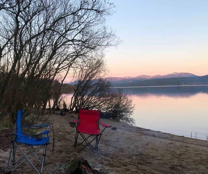 wild camping on Loch Rannoch with Stravaig Motorhome Rental